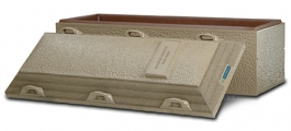 <h5>Continental </h5><p>Mid-line single-reinforced burial vault •  Durable concrete exterior with a plastic–reinforced cover and base  •  Extra-strong cover • 55-year warranty</p>