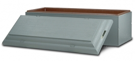 <h5>Monticello </h5><p> Entry-level single-reinforced burial vault  •  Concrete exterior with a plastic–reinforced cover and base •   50-year warranty</p>